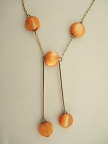 Antique Art Nouveau 9ct Gold Coral Mother of Pearl Drop Necklace