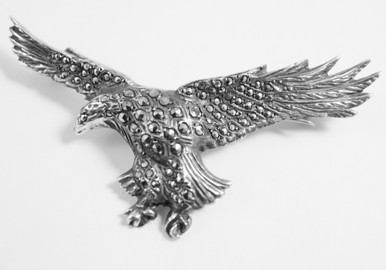 Vintage English Solid Silver & Marcasite Eagle Brooch
