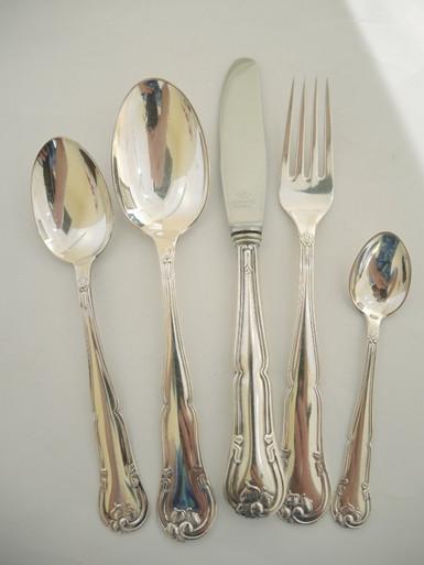 12 Person Vintage Danish Silver Plate Liselund Cutlery Set Chr Jensen