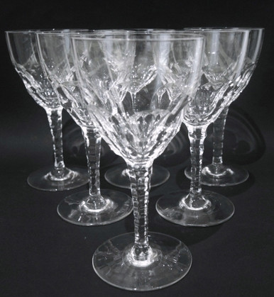 6 Antique Holmegaard Crystal Fiffa Red Wine Glasses c1920