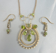 Antique 9ct Gold Peridot & Seed Pearl Necklace and Earrings