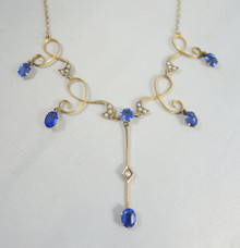 Antique 9ct Gold Blue Stone & Seed Pearl Necklace