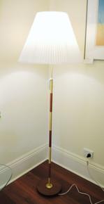 Vintage Mid Century Danish Teak Banded Standard / Floor Lamp with Pleated Shade