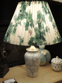 Vintage Danish Marbled Ceramic Lamp with Pleated Shade