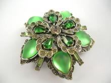 Vintage Arcansas Australian Green Rhinestone Brooch Pendant by Elizabeth Reimer