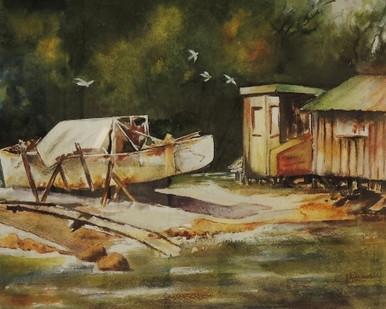 Original Watercolour Painting By Australian Artist Elizabeth Little - Boat Shed