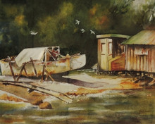 Original Watercolour Painting By Australian Artist Elizabeth Little - Boat Shed
