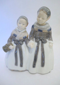 Vintage Royal Copenhagen Porcelain Amager Girls Shopping Figurine