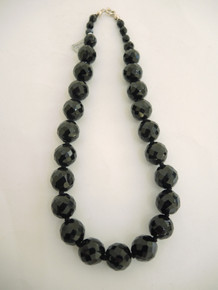 Vintage French Jet Large Black Bead Necklace