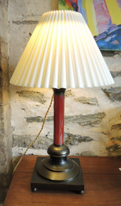 Antique Brass and Oxblood Glass Column Table Lamp with Pleated shade