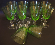 10 Danish Lyngby Eaton Cut Fine Green Crystal White Wine Glasses