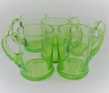 6 Vintage Green Stuart Crystal Tankards