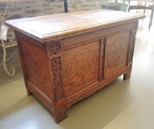 Antique English Oak Hand Carved Blanket Box 1894