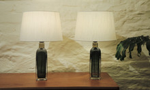 Pair of Vintage Orrefors Crystal Table lamps Carl Fagerlund 1970