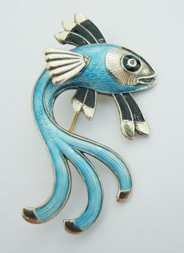 Vintage Norway Sterling Silver Enamel Fish brooch Hans Myhre