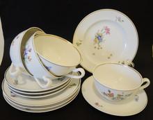 4 Vintage Royal Copenhagen Hand Painted Primavera Tea Cup Trios.