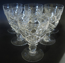 6 Large Vintage Stuart Crystal Diamond Cut Red Wine or Water glasses