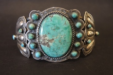 Vintage Sterling Silver Turquoise Apache Blackfoot Cuff Bangle by Al Somers