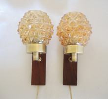 Mid Century Modern Scandinavian Glass and Mahogany Wall Sconces