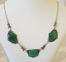 Art Deco Sterling Silver Marcasite & Chrysoprase Necklace
