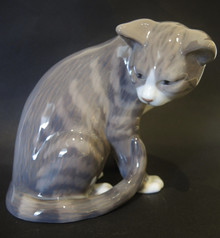 Vintage Royal Copenhagen Porcelain Tabby Cat Figurine 301
