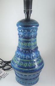 Large Vintage Italian Bitossi Rimini Blue Pottery Table Lamp Base