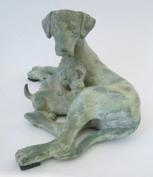 30cm Bronze Statue Mother Dog and Pups