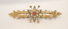Antique Australian 9ct Gold Seed Pearl & Red Stone Brooch By T Willis & Sons Melbourne
