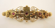 Antique Australian Aronsen 9ct Gold Seed Pearl & Red Stone Brooch