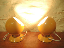2 Vintage Yellow Benny Frandsen ABO Ball Light Sconce Lamps