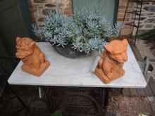 Vintage Pair of Terracotta Garden Statue Gargoyles