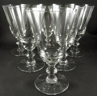 Clear crystal wine stems from Lyngby Denmark.