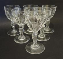 6 Vintage cut crystal Val St Lambert by Holmegaard Poul 40ml wine glasses
