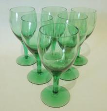6 Vintage Green Holmegaard Kirsten Pil white wine glasses Per Lutkin 1956
