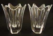 2 Vintage Orrefors Crystal Tulip Vases