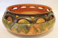Art Nouveau Vintage Danish Art Pottery P Ipsens Bowl with Hibiscus