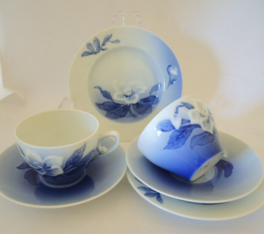 2 Vintage Danish Bing & Grondahl blue & white Christmas Rose Trios