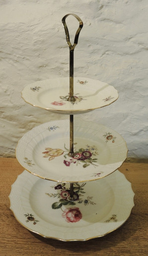 Vintage Royal Copenhagen Frisenborg three tier high tea cake stand