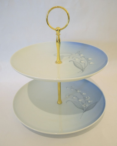 Vintage Danish Bing & Grondahl blue & white Lily of the Valley cake stand