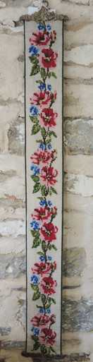 Vintage Danish Pink and Blue Floral Bell Pull Embroidery Wall Hanging