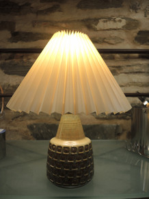 Vintage Soholm Art Pottery Table Lamp with Folded Shade