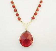 Antique Art Nouveau 9ct Gold Lined Red Stone Necklace