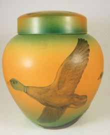 Art Nouveau Vintage Danish Art Pottery Ipsens Ginger Jar Ducks in Flight