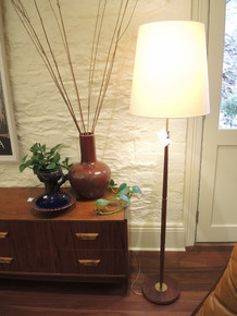 Vintage Danish Modern Teak and Brass Floor Lamp