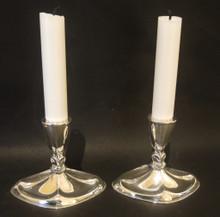 2 Vintage Danish Sterling Silver E Dragsted Candlesticks c1950