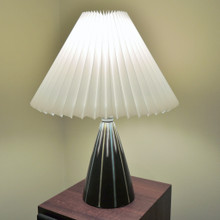 Small Vintage Mid Century Pottery lamp with Pleated Shade