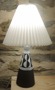 Vintage Mid Century Art Pottery Lamp with Pleated Shade Signed Henne