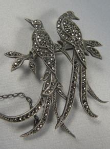 Vintage Australian Lega Sterling Silver Marcasite Bird of Paradise Brooch