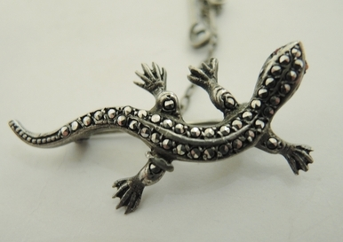 Vintage Sterling Silver Lizard Brooch Germany