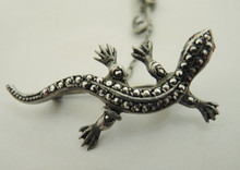 Vintage Sterling Silver Lizard Brooch Germany
